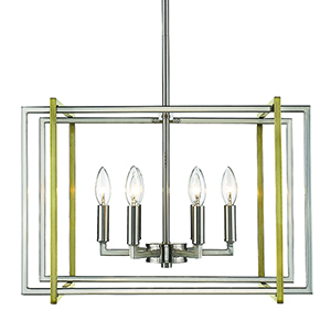 Tribeca Pewter and Aged Brass 21-Inch Six-Light Chandelier