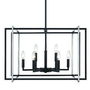 Tribeca Black and Pewter 26-Inch Nine-Light Chandelier