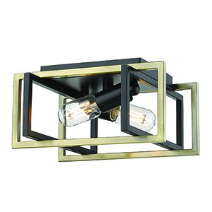 Tribeca Black and Aged Brass 11-Inch Two-Light Flush Mount