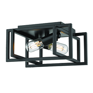 Tribeca Black 11-Inch Two-Light Flush Mount