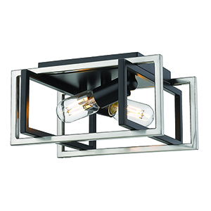 Tribeca Black and Pewter 11-Inch Two-Light Flush Mount