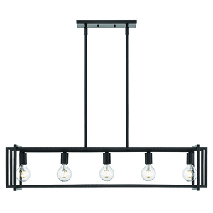 Tribeca Black 41-Inch Five-Light Linear Pendant