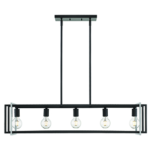 Tribeca Black and Pewter 41-Inch Five-Light Linear Pendant