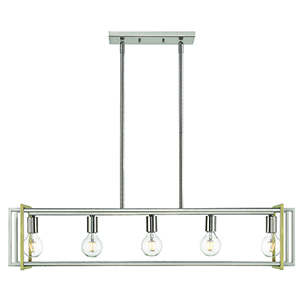 Tribeca Pewter and Aged Brass 41-Inch Five-Light Linear Pendant