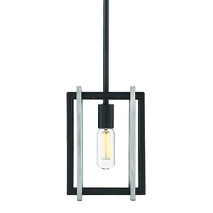 Tribeca Black and Pewter Seven-Inch One-Light Mini Pendant