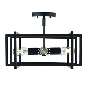 Tribeca Black 15-Inch Four-Light Semi-Flush Mount