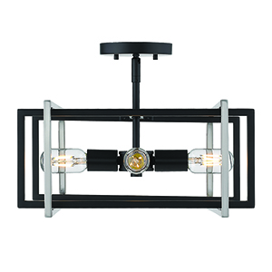 Tribeca Black and Pewter 15-Inch Four-Light Semi-Flush Mount