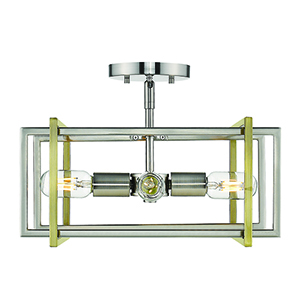 Tribeca Pewter and Aged Brass 15-Inch Four-Light Semi-Flush Mount