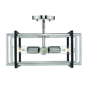Tribeca Pewter and Black 15-Inch Four-Light Semi-Flush Mount