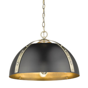 Aldrich Aged Brass Matte Black 18-Inch Three-Light Pendant