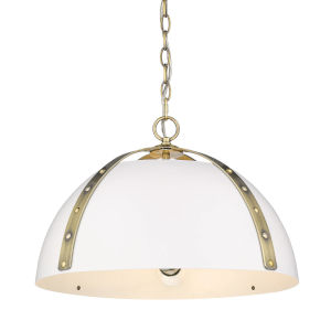 Aldrich Aged Brass Matte White 18-Inch Three-Light Pendant