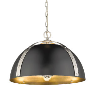 Aldrich Pewter Matte Black 18-Inch Three-Light Pendant