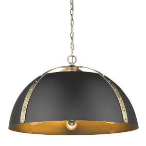 Aldrich Aged Brass Matte Black 25-Inch Five-Light Pendant
