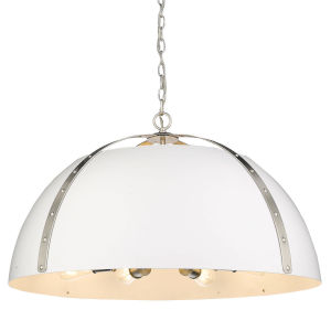 Aldrich Pewter Matte White 30-Inch Eight-Light Pendant