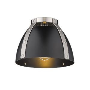 Aldrich Pewter Matte Black 10-Inch One-Light Flush Mount