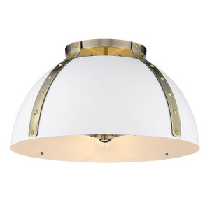 Aldrich Aged Brass Matte White 18-Inch Three-Light Flush Mount