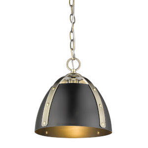 Aldrich Aged Brass Matte Black 10-Inch One-Light Pendant