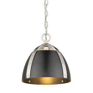 Aldrich Pewter Matte Black 10-Inch One-Light Pendant