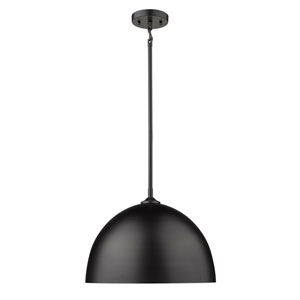 Zoey Matte Black 16-Inch One-Light Pendant with Matte Black Shade