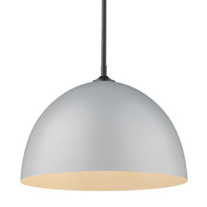 Zoey Matte Black 16-Inch One-Light Pendant with Matte Gray Shade