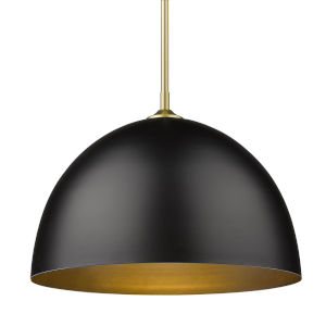 Zoey Olympic Gold 16-Inch One-Light Pendant with Matte Black Shade