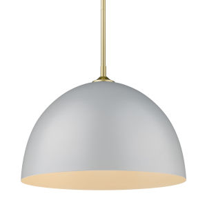 Zoey Olympic Gold 16-Inch One-Light Pendant with Matte Gray Shade
