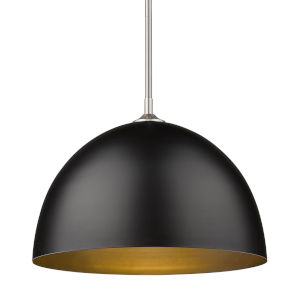 Zoey Pewter 16-Inch One-Light Pendant with Matte Black Shade