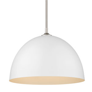 Zoey Pewter 16-Inch One-Light Pendant with Matte White Shade