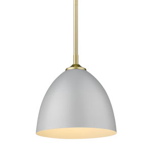Zoey Olympic Gold Nine-Inch One-Light Mini Pendant with Matte Gray Shade
