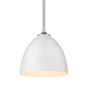 Zoey Pewter Nine-Inch One-Light Mini Pendant with Matte White Shade