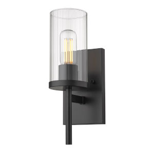 Winslett Matte Black Five-Inch One-Light Wall Sconce with Ribbed Clear Glass Shade