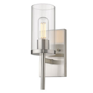 Winslett Pewter Five-Inch One-Light Wall Sconce with Ribbed Clear Glass Shade