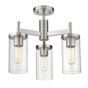 Winslett Pewter 17-Inch Three-Light Semi Flush Mount