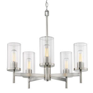 Winslett Pewter 24-Inch Five-Light Chandelier with Ribbed Clear Glass Shade