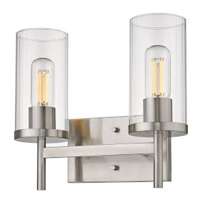 Winslett Pewter 13-Inch Two-Light Bath Vanity with Ribbed Clear Glass Shade
