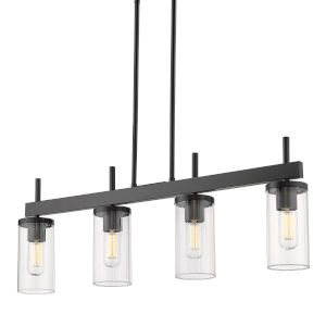 Winslett Matte Black 35-Inch Four-Light Linear Pendant with Ribbed Clear Glass Shade