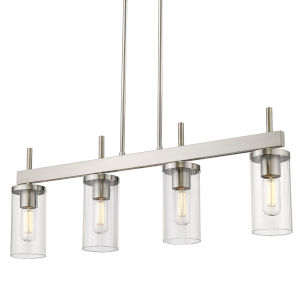 Winslett Pewter 35-Inch Four-Light Linear Pendant with Ribbed Clear Glass Shade