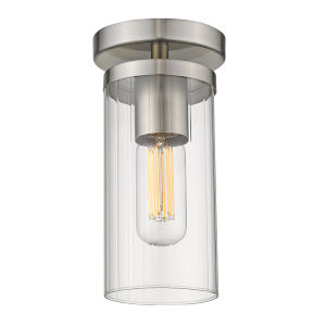 Winslett Pewter Five-Inch One-Light Semi Flush Mount with Ribbed Clear Glass Shade