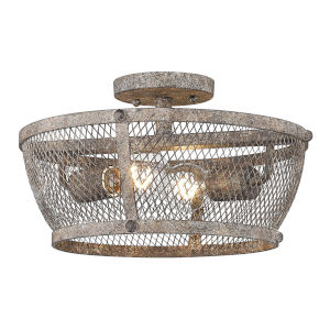 Calgary Pebbled Rust 14-Inch Two-Light Semi Flush Mount