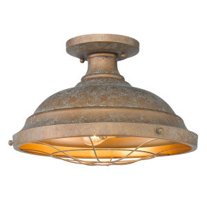 Bartlett Copper Patina Two-Light Semi-Flush