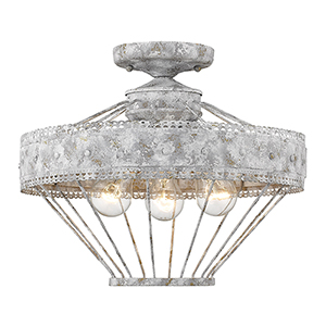 Ferris Oyster Three-Light Semi-Flush Mount
