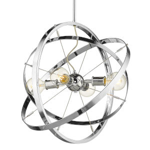 Atom Chrome 22-Inch Four-Light Chandelier