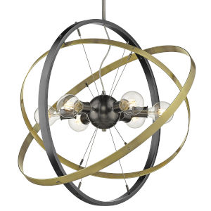 Atom Brushed Steel Aged Brass 28-Inch Six-Light Chandelier