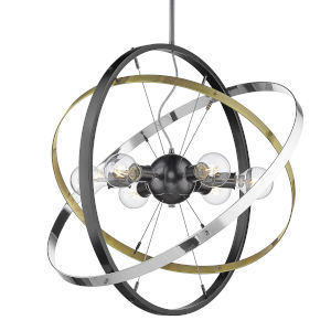 Atom Brushed Steel Aged Brass Chrome 28-Inch Six-Light Chandelier