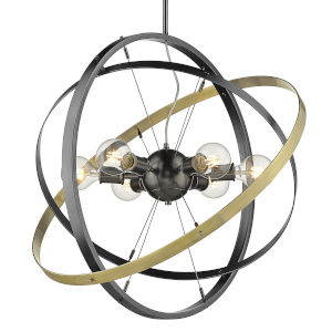 Atom Brushed Steel Black Aged Brass 28-Inch Six-Light Chandelier