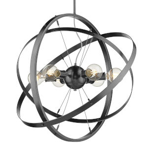 Atom Brushed Steel 28-Inch Six-Light Chandelier