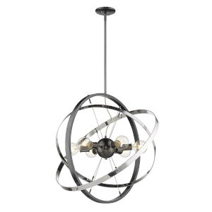 Atom Brushed Steel Chrome 28-Inch Six-Light Chandelier