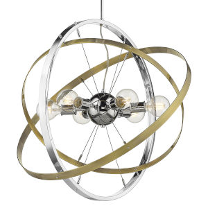 Atom Chrome Aged Brass Silver Six-Light Chandelier
