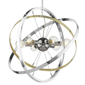 Atom Chrome Aged Brass Silver 28-Inch Six-Light Chandelier