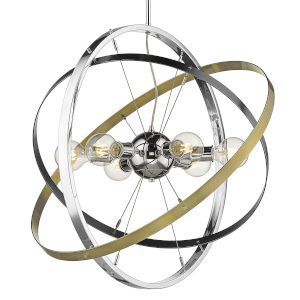Atom Chrome Brushed Steel Aged Brass 28-Inch Six-Light Chandelier